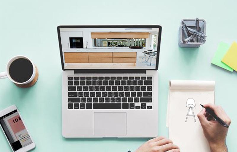 3D kitchen design, laptop showing kitchen layout. Long Eaton, Nottingham.