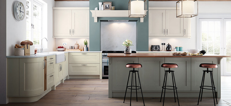 Modern Shaker style kitchen, Long Eaton, Nottingham. 3 bars stools, kitchen island with timber worktop, cream kitchen cabinets with white stone worktop.