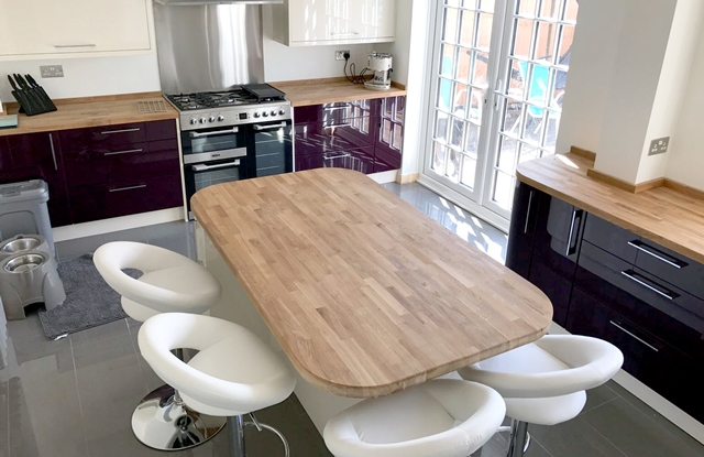 New Kitchen layout, Kitchen island with timber worktop in Long Eaton