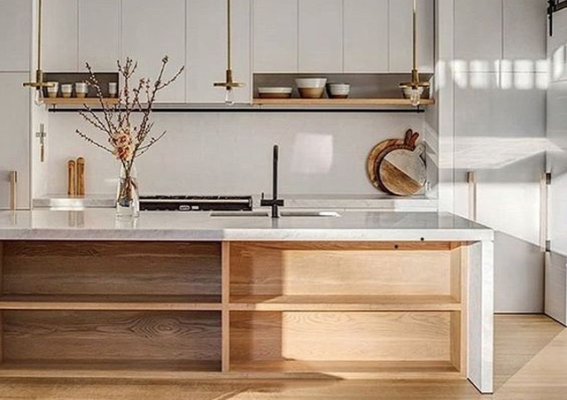kitchen supplier Long Eaton Nottingham - modern kitchen pale colour pallet with timber shelf's